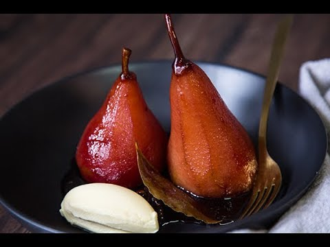 FreshFast Red Wine Poached Pears with Mascarpone