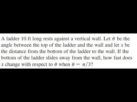 A ladder 10 ft long rests against a vertical wall. Let theta be the angle