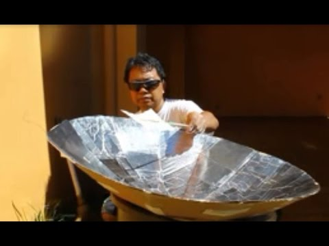 DIY solar cooker from scrap.. how to make solar parabolic dish