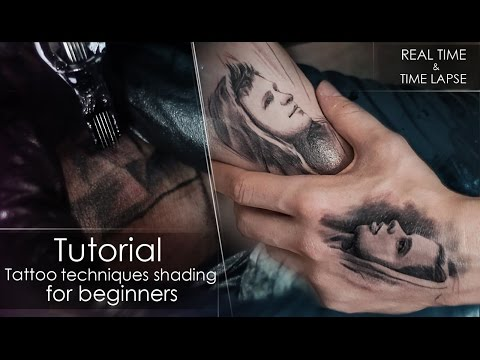 Tutorial - How to tattoo techniques shading - for beginners REAL TIME / LAPSE ❤️  Portrait on myself