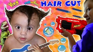 Shawn's 1st Haircut ♪ FUNNY FAILS  Rock N Roll Baby FUNnel Vlog