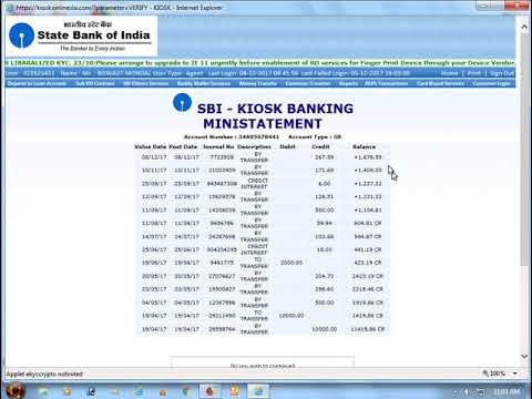 how to check balance and withdrawals money from sbi kiosk banking account