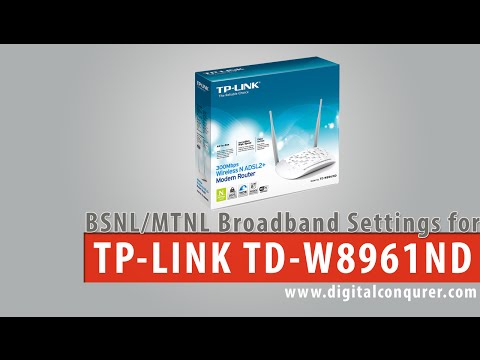 BSNL Broadband Settings on TP-Link TD-W8961ND 300Mbps ADSL2+ Router