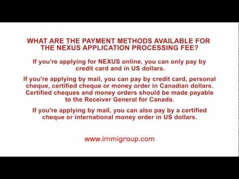 What are the payment methods available for the NEXUS application processing fee?