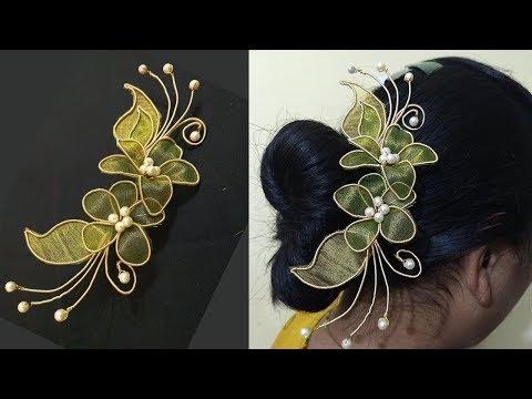 Zardosi hair brooch Making | Hair brooch Indian wedding | Hair brooch making