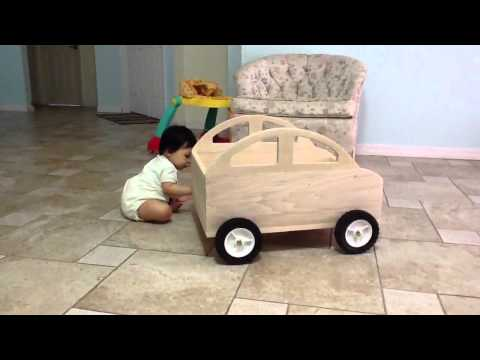 Baby's first homemade wooden toy car.