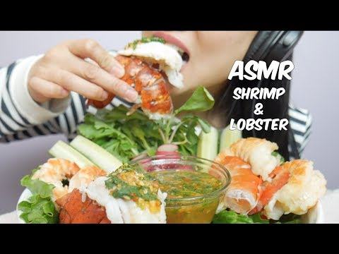 ASMR Giant Shrimp & Lobster with Spicy Seafood Sauce (EATING SOUNDS) NO TALKING   SAS-ASMR