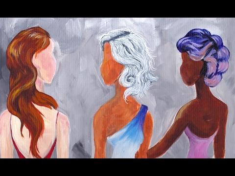 How to paint Hair in Acrylic | RED hair | GREY hair | FANTASY hair Big art quest