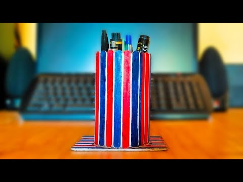 How to Make a Penstand Using Icecream Sticks at Home|DIY Penstand