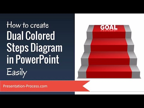 How to create Dual Colored Steps Diagram in PowerPoint Easily