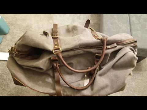 S-ZONE Canvas Leather Weekender Bag