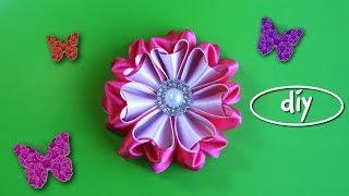 Diy Мастер-класс канзаши. Цветы из лент (english Subtitles)