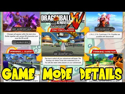 Dragon Ball Xenoverse: Time Patrol, Free Battle, Parallel Quest, Tournament, Mentor Training Modes