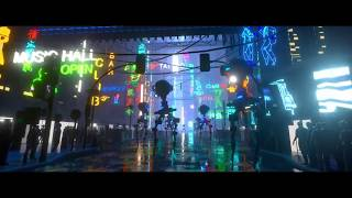 A Test of Neon lights, Fog, colored lights, wet/rainey street and robots dynamic rig in Cinema 4D