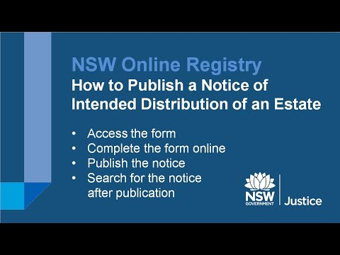 NSW Online Registry - How to file a Notice of Intended Distribution