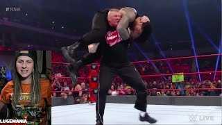 WWE Raw 1/16/17 Brock Lesnar F5s Roman Reigns