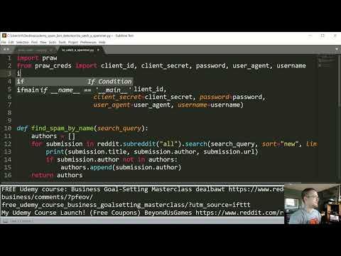 Creating a Reddit Bot to Detect Spam - Python Reddit API Wrapper (PRAW) tutorial p.4