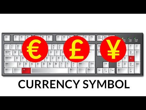 Keyboard shortcut for currency symbol