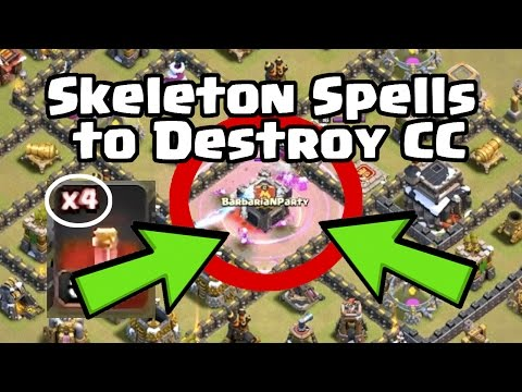 Using Skeleton Spells to Eliminate the Clan Castle | Clash of Clans War Strategy TH9-11