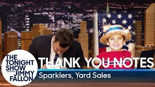 Thank You Notes: Sparklers, Yard Sales