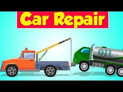 Tow Truck Garage | Oil Tanker Truck | Car Repair | Kids Video