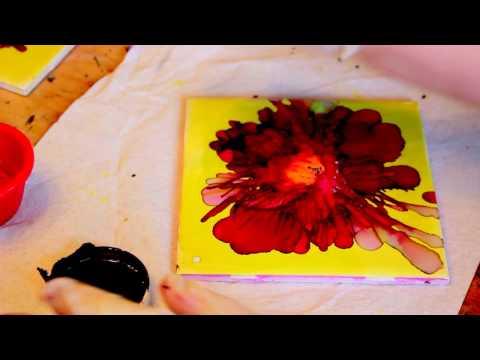 Alcohol ink flowers painting tutorial- Deb Lestenkof