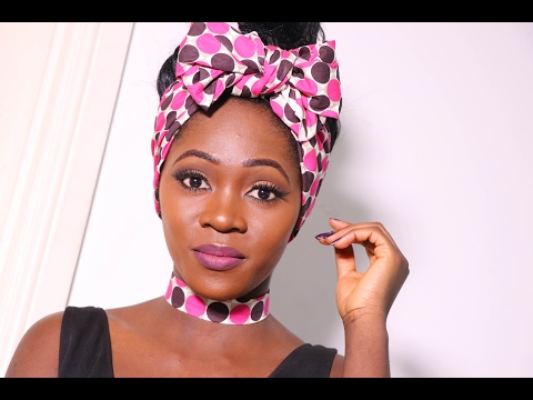 DIY Ankara choker necklace and bow head scarf