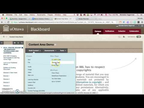 How to create a module page in BlackBoard Learn
