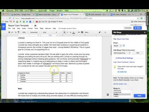 Easy Way to Create Individual Report Cards using Google Docs/Sheets/Mail Merge