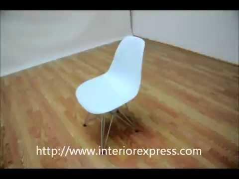 InteriorExpress Eiffel Chair White Plastic with Chrome Metal Base