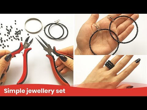 Wire Ring Tutorial. Jewelry Set from Memory Wire and Beads. DIY Craft Ideas