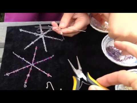 DIY Beaded Holiday Snowflake Ornaments