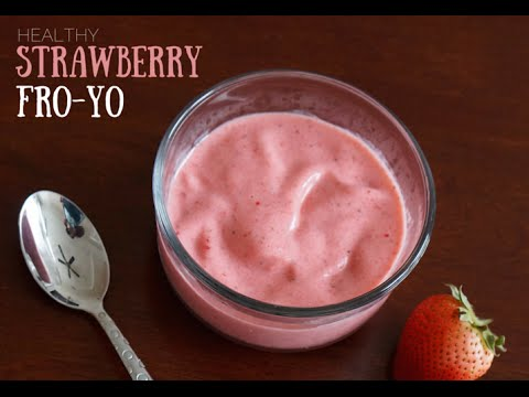 How to make Strawberry Homemade Frozen Yogurt (Super Healthy)