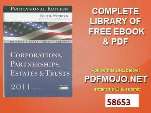 South Western Federal Taxation 2011 Corporations, Partnerships, Estates and Trusts, Professional Ver