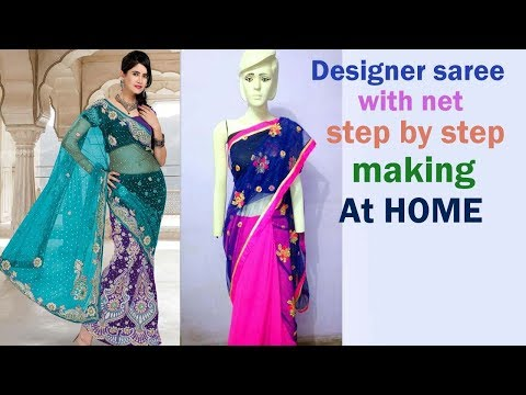 Designer saree making at home very easy step by step tutorial DIY