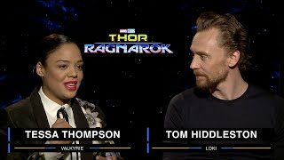 Tessa Thompson and Tom Hiddleston on Marvel Studios