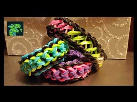 Two sided Bracelet  - Double Capped Dragon Scale / Infinity - on the Rainbow loom