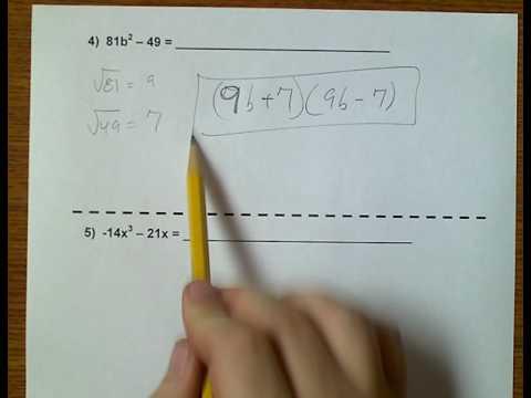 Algebra 1 (Topic 6-7) Factoring Completely - Again
