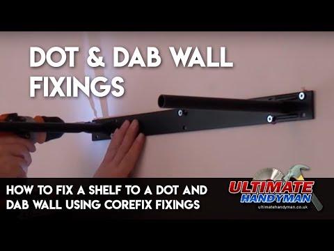How to fix a shelf to a dot and dab wall using corefix fixings