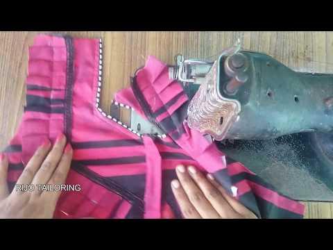 pleated night dress neck stitching method   nighty frill stitching video