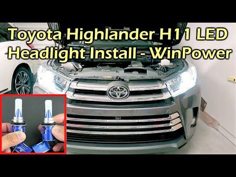 2018 Toyota Highlander H11 LED Headlight Install - WinPower LED