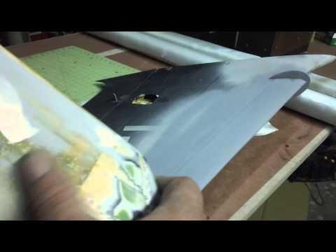 cutting fiberglass cloth for A-4 wing mold