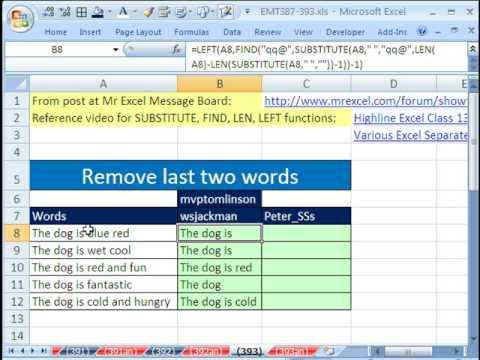 Excel Magic Trick 393: Remove Last Two Words From Column Of Data