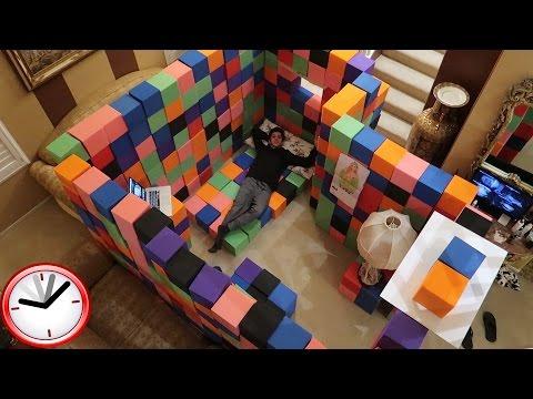 CRAZY INDOOR FOAM PIT FORT!! (24 HOUR OVERNIGHT CHALLENGE) | FaZe Rug