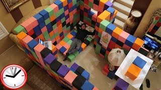 CRAZY INDOOR FOAM PIT FORT!! (24 HOUR OVERNIGHT CHALLENGE)