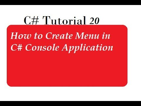 How To Create Menu in C# Console Application