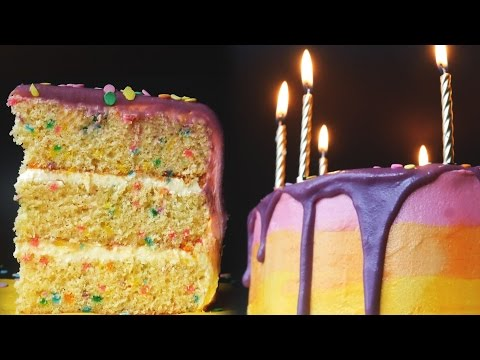Confetti (Funfetti) Birthday Drip Cake - How to Make a Birthday Cake - Treat Factory