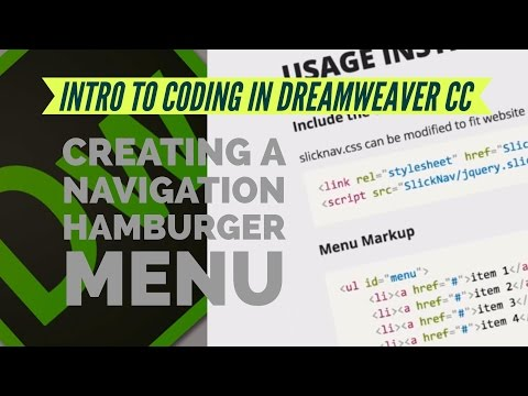 Creating a navigation hamburger menu in Dreamweaver CC 2017  [05/13]