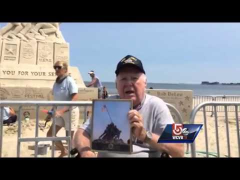 Vet watches building of sand Iwo Jima Memorial in Revere