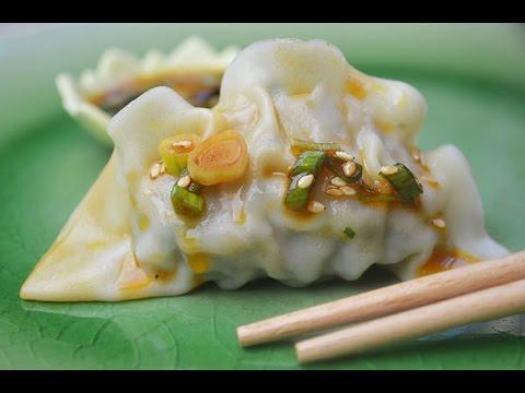 Shrimp Dumplings with Hot Sesame Oil Soy Sauce Recipe